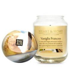 Heart & Home - Candela in cera di soia - Vaniglia Francese - Barattolo Grande