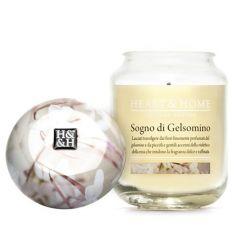Heart & Home - Candela in cera di soia - Sogno Di Gelsomino - Barattolo Grande