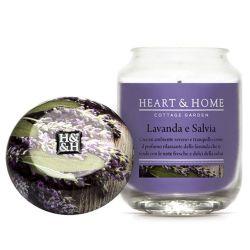 Heart & Home - Candela in cera di soia - Lavanda e Salvia - Barattolo Grande