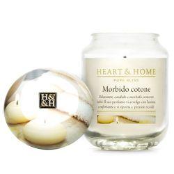 Heart & Home - Candela in cera di soia - Morbido Cotone - Barattolo Grande